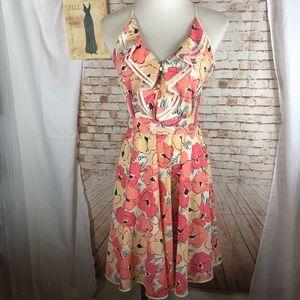 LC Lauren Conrad orange floral ruffle dress
